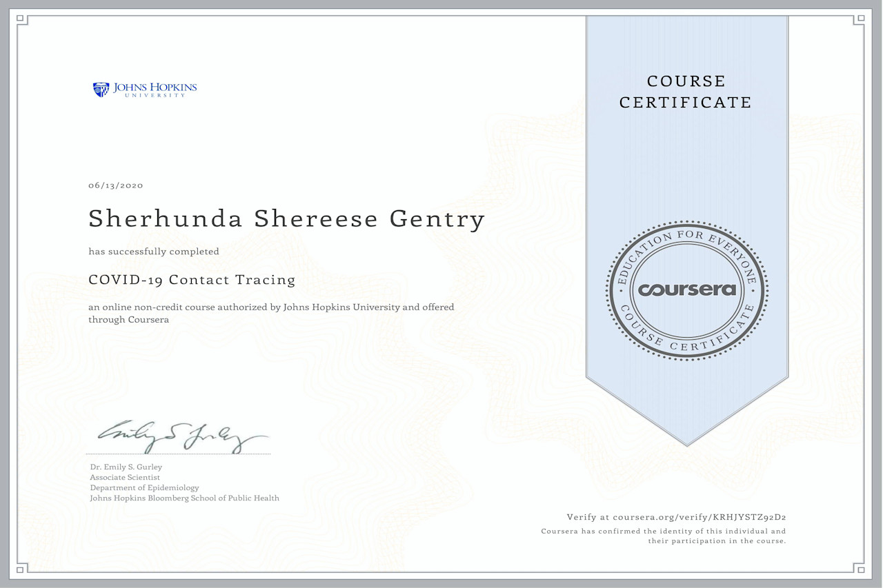 Contract Tracing Certificate for Sherhunda Gentry New